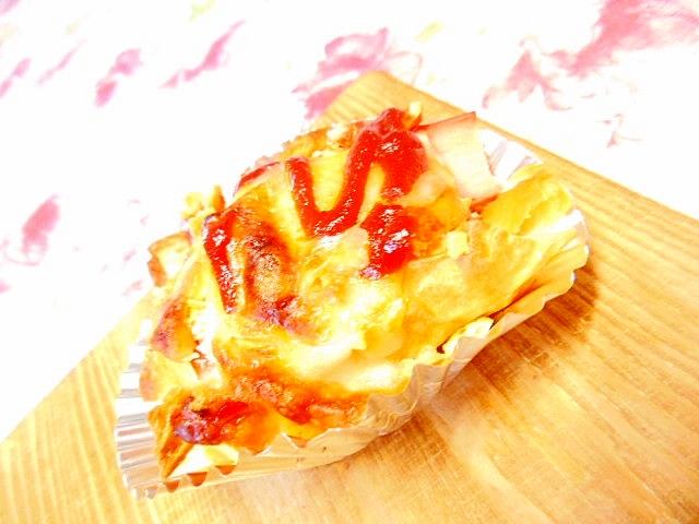 薩摩芋とカニかまとリッツと粉末Pのケチャ・チーズ焼