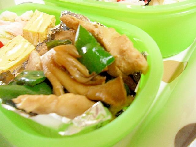 刺身と舞茸、ピーマンのしょうが煮