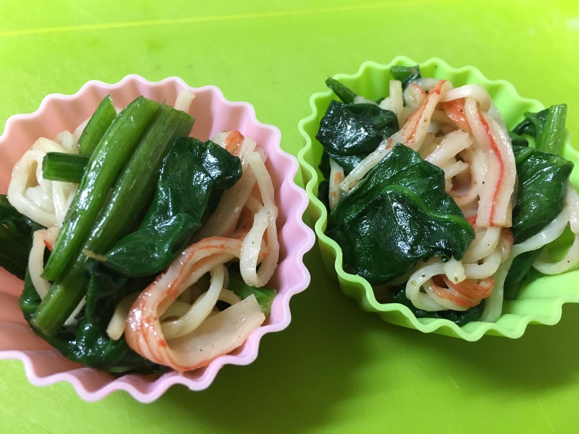 お弁当に♡ほうれん草とカニカマのバター炒め レシピ・作り方