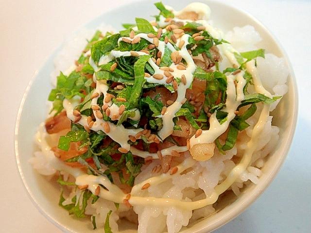 玉ねぎのかき揚げと青紫蘇の麺つゆマヨごはん♪