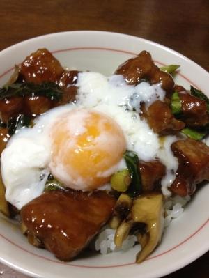 厚切り豚肉と青梗菜のオイスターソース丼