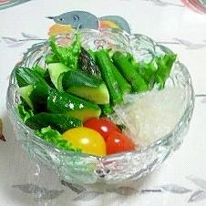 糸寒天を入れたサラダ