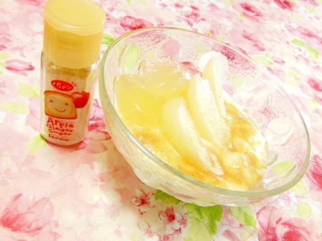 白桃ゼリーと梨とパパンのヨーグルト