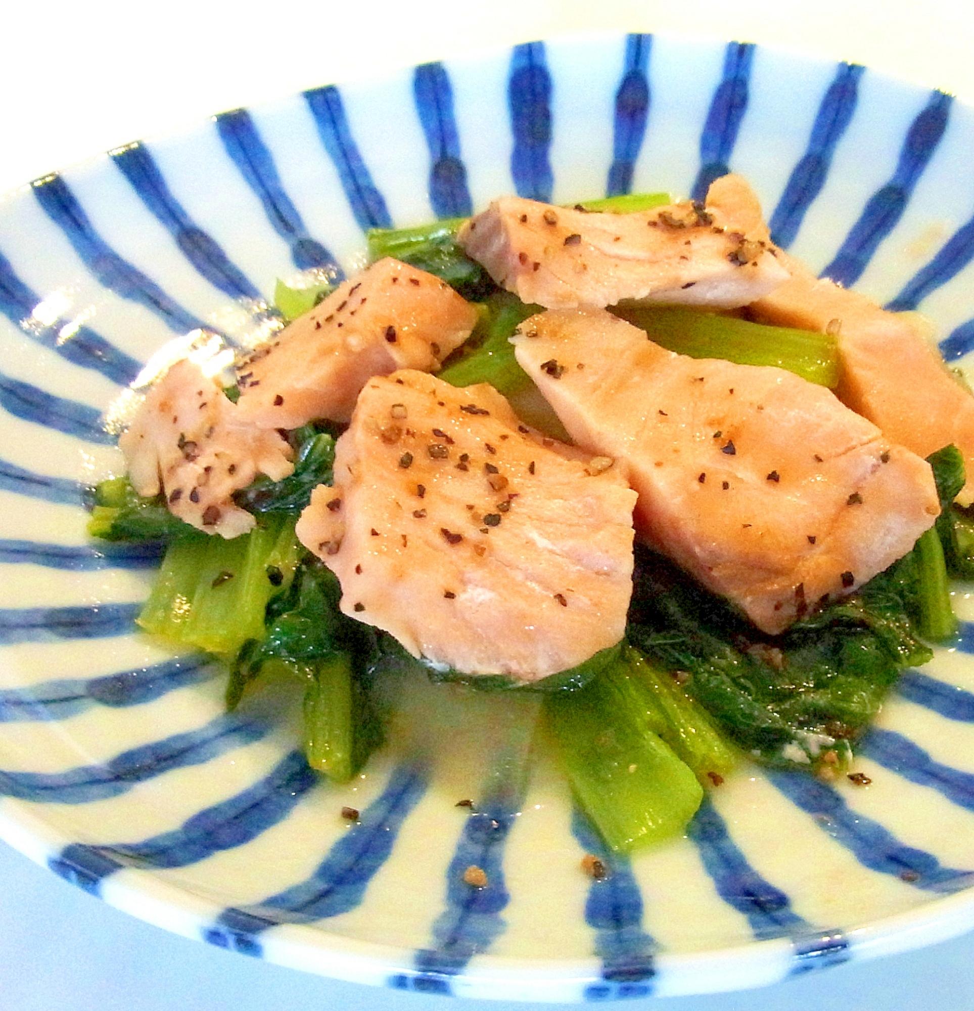 お弁当に☆鮭と小松菜のバター蒸し レシピ・作り方 by ☆メリッコ☆|楽天レシピ