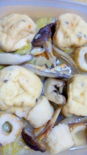 煮干と椎茸だしでぷちがんもの含め煮
