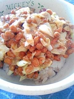 納豆の食べ方-キャベツ&海苔佃煮♪