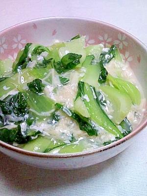 チンゲン菜のふわふわ卵白ホタテあん