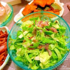 しめ鯖とリーフレタスのがごめ昆布サラダ