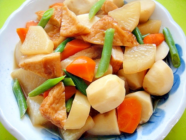 里芋と大根さつま揚げの煮物 レシピ・作り方