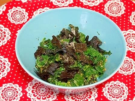 うちの副菜「大根葉と小松菜の和え物」