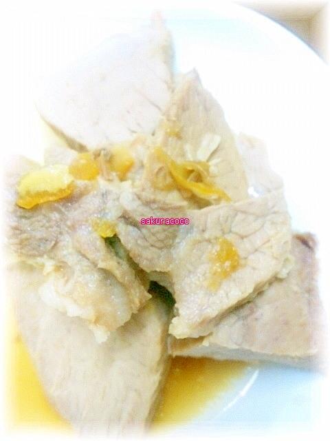 圧力鍋で豚ブロック肉のマーマレード煮豚