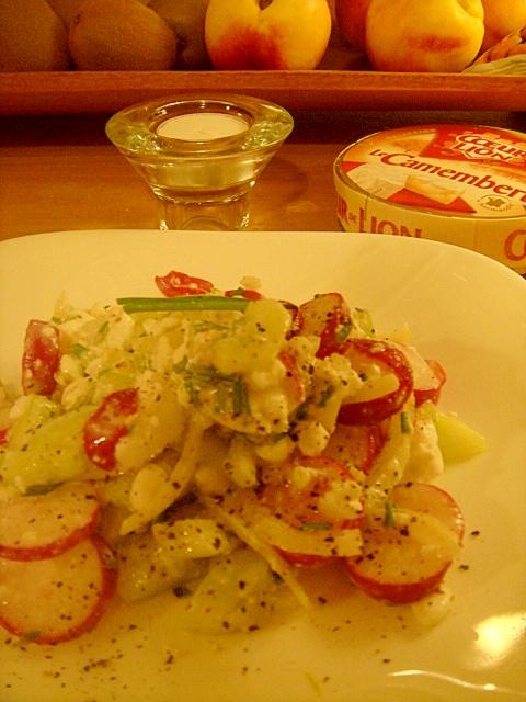 大好きカッテージチーズとラディッシュきゅうりサラダ