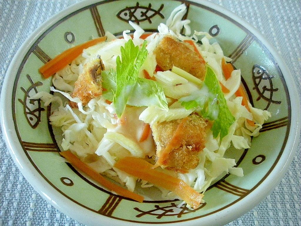 さんまフライと野菜のヨーグルトドレッシングサラダ♪