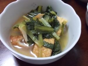 めんつゆでちくわと小松菜の煮物