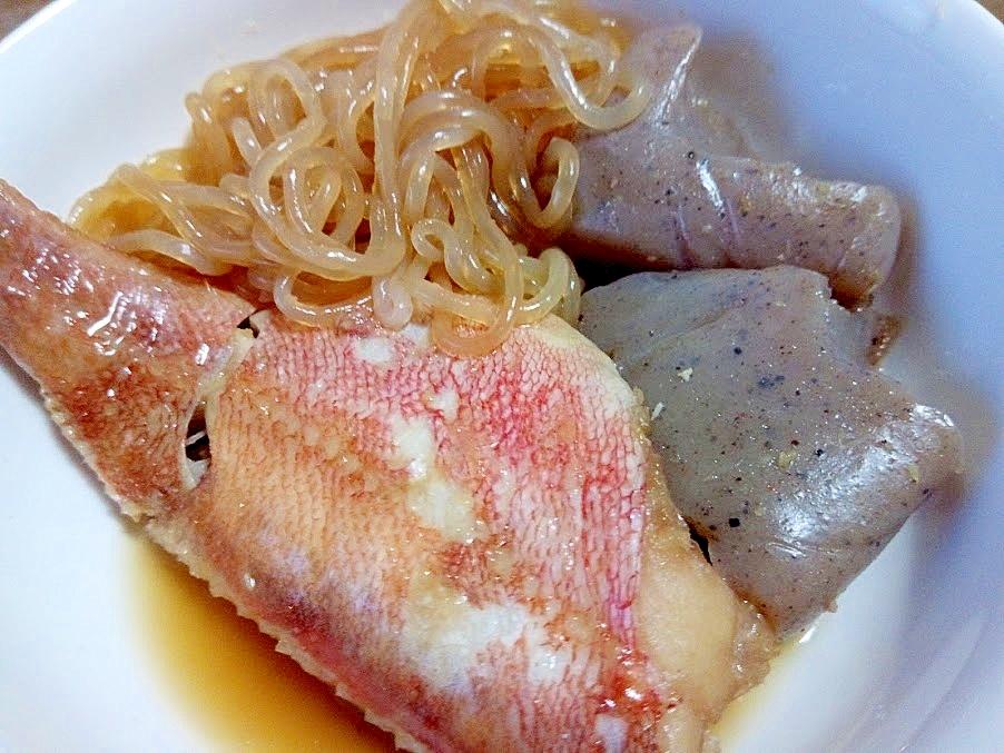 赤魚とこんにゃくと白滝の煮付け