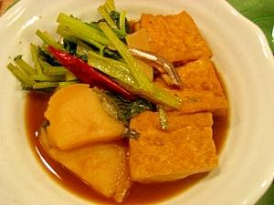 簡単!じんわりしみた厚揚げと小松菜のささっと煮物