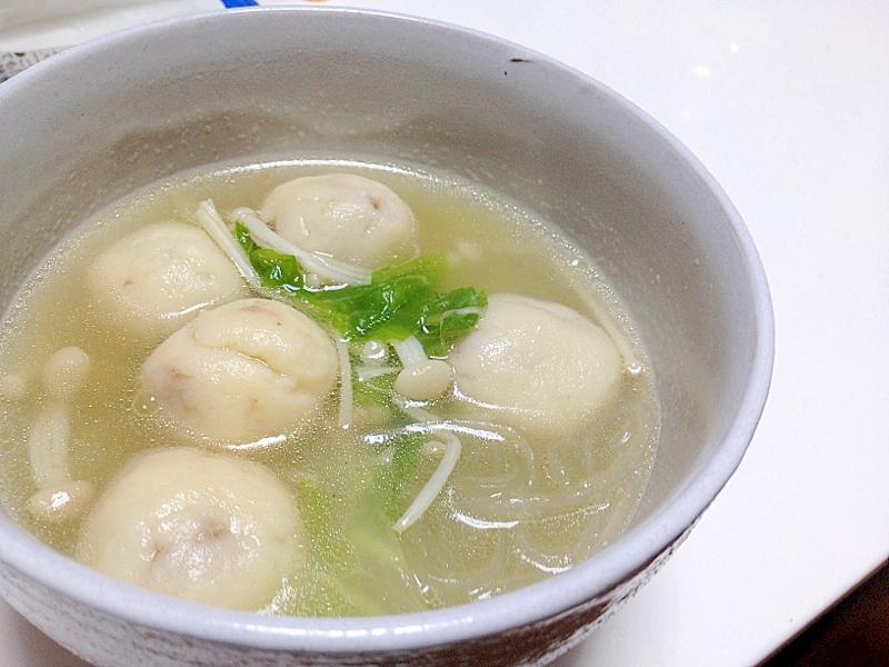 白玉粉で作る餅餃子の春雨スープ