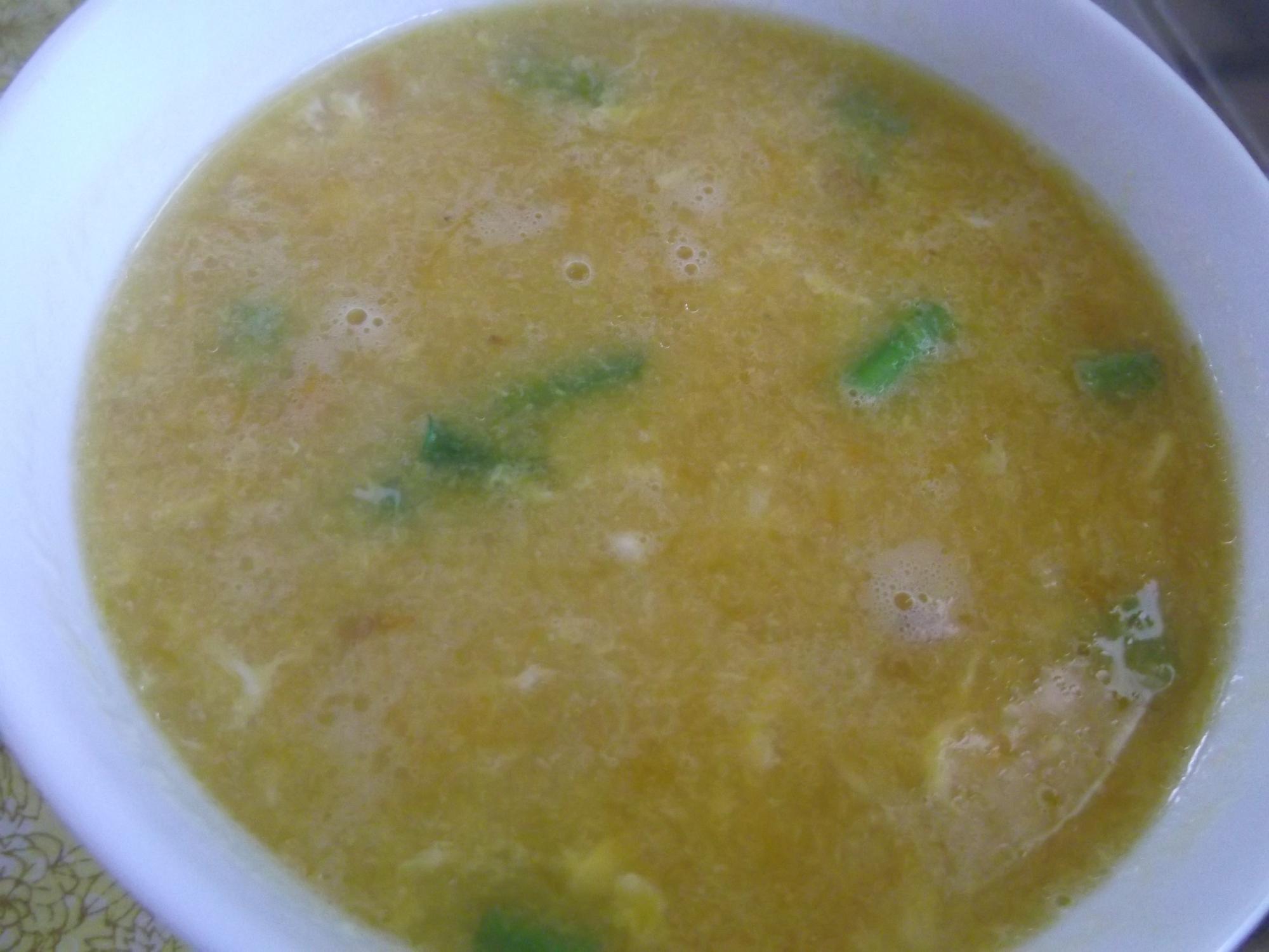 コーンとかぼちゃの☆かき玉スープ