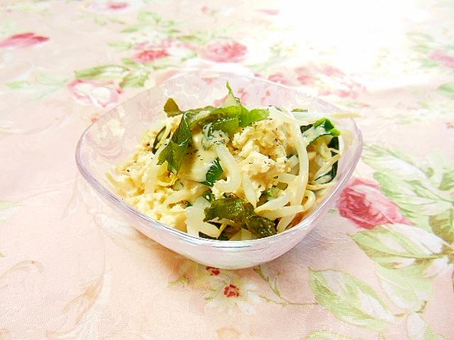 豆腐とモヤシとワカメの胡麻ドレ生姜サラダ