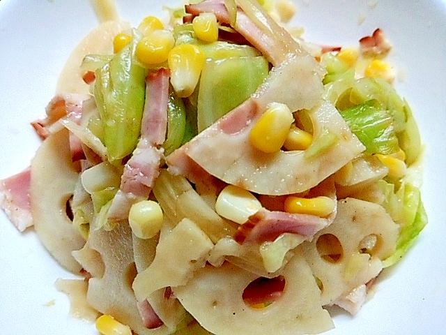 鍋一つで茹でちゃった☆蓮根とキャベツのマリネサラダ