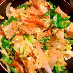 お肉なしでも美味しい生姜佃煮と厚揚げのチャンプルー