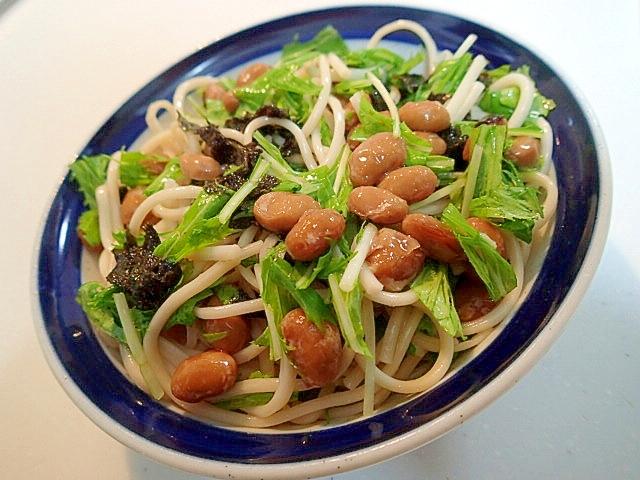 納豆と水菜ともみ海苔の混ぜ素麺