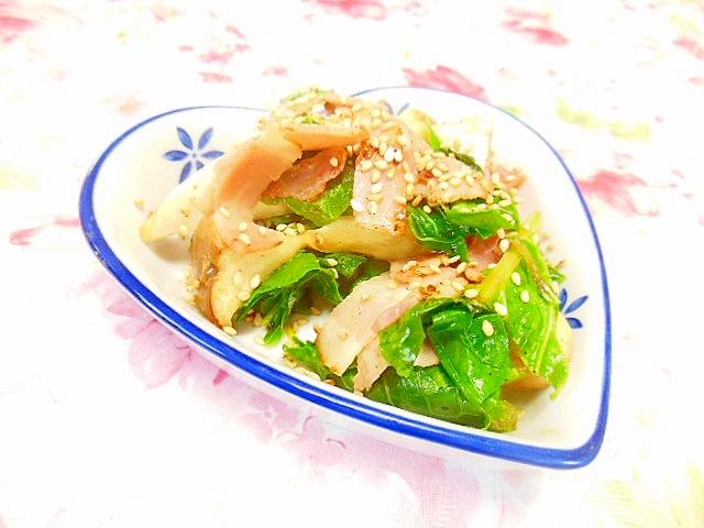 エリンギと小松菜とベーコンのスパイス炒め