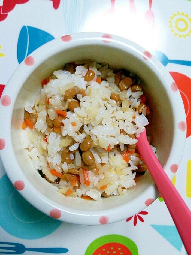 離乳食☆塩こんぶとキャベツ、モヤシの納豆ごはん