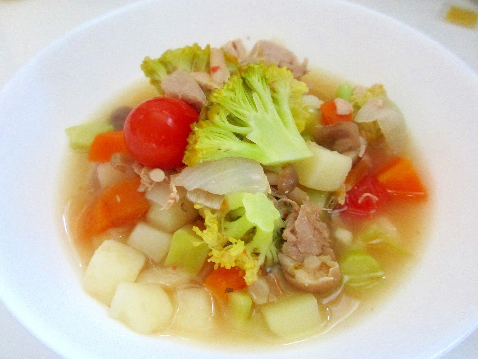 ツナ、ブロッコリー、プチトマトで具沢山スープ