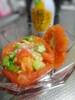 トマトカップのポン酢寄せゼリーサラダ