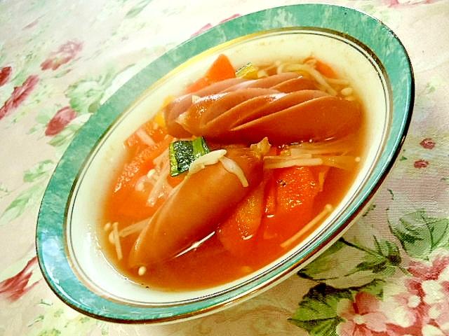 人参食べよ塩焼きそばの素で作るスープ