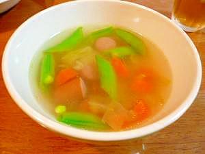 スナップえんどうの具沢山スープ