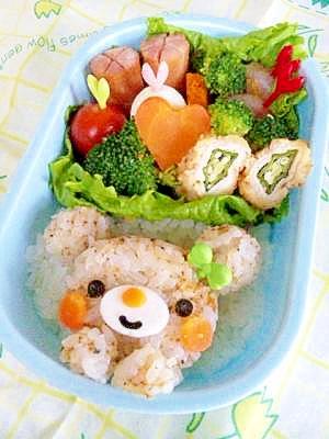 簡単キャラ弁☆くまちゃんのお弁当♪