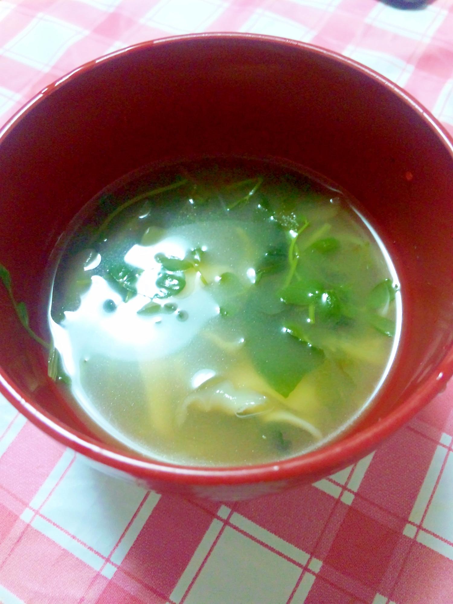 ヘルシー☆豆苗&豆腐&まいたけのみそ汁