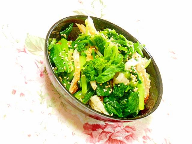 竹輪と小松菜と菜の花の中華和え