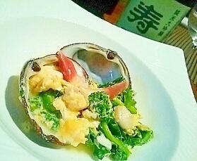 おうちで簡単居酒屋、北寄貝と菜の花の卵とじ