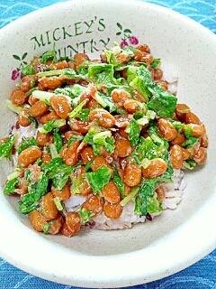 納豆の食べ方-梅&大根葉♪