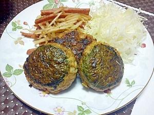 豆腐&キャベツ&大葉の和風ハンバーグ☆マヨポン酢で