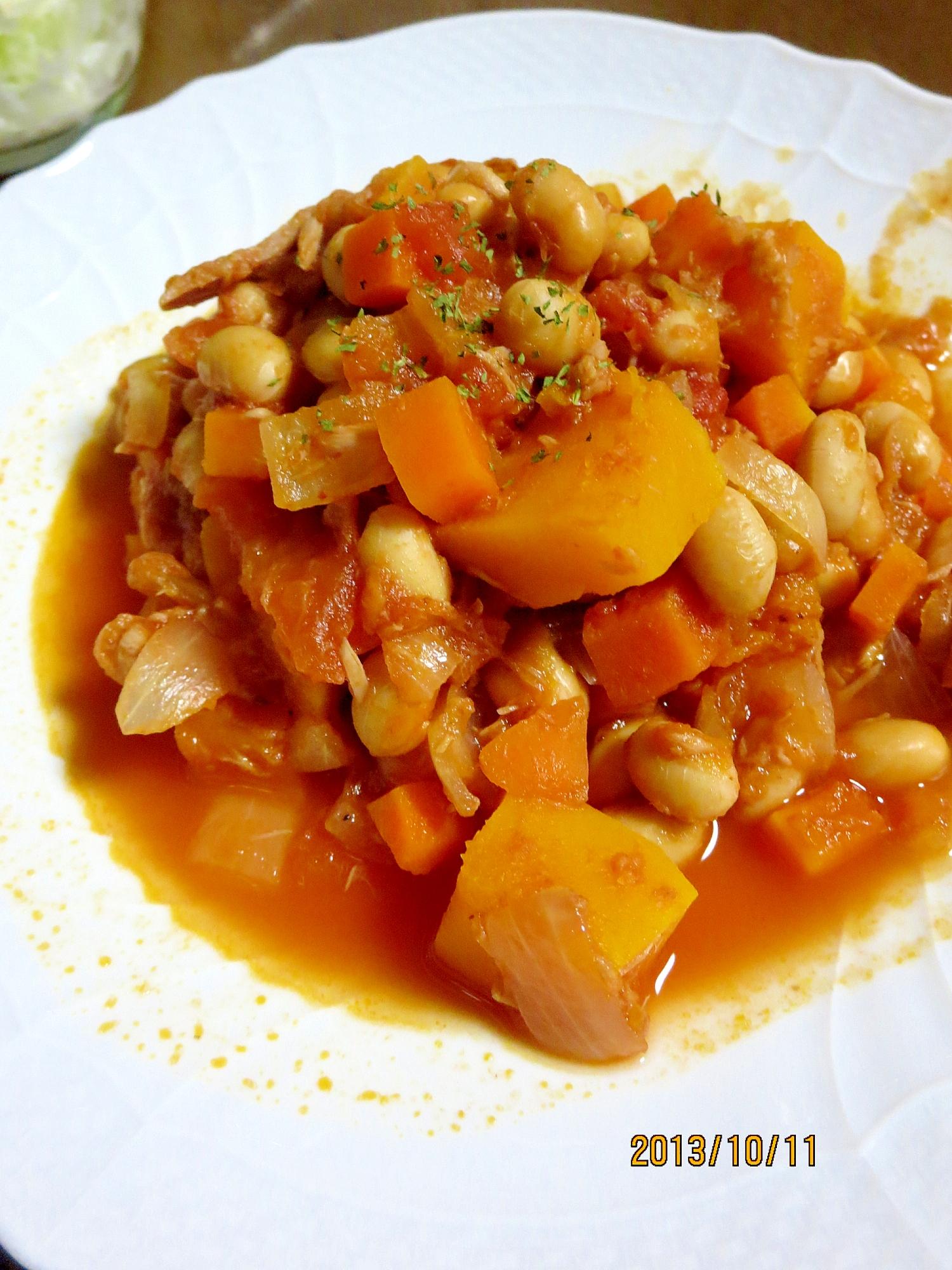 エスニック風★かぼちゃ&大豆のトマト煮