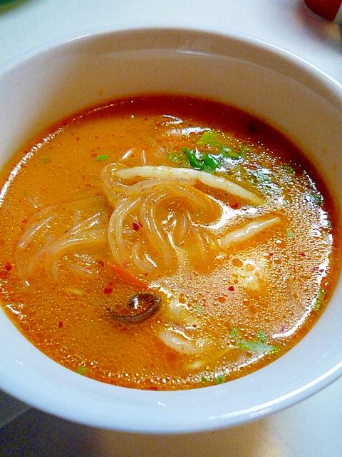 もやしと春雨の辛いスープ♪