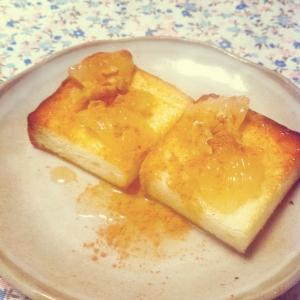 朝食にシナモンメープルのオープンサンド