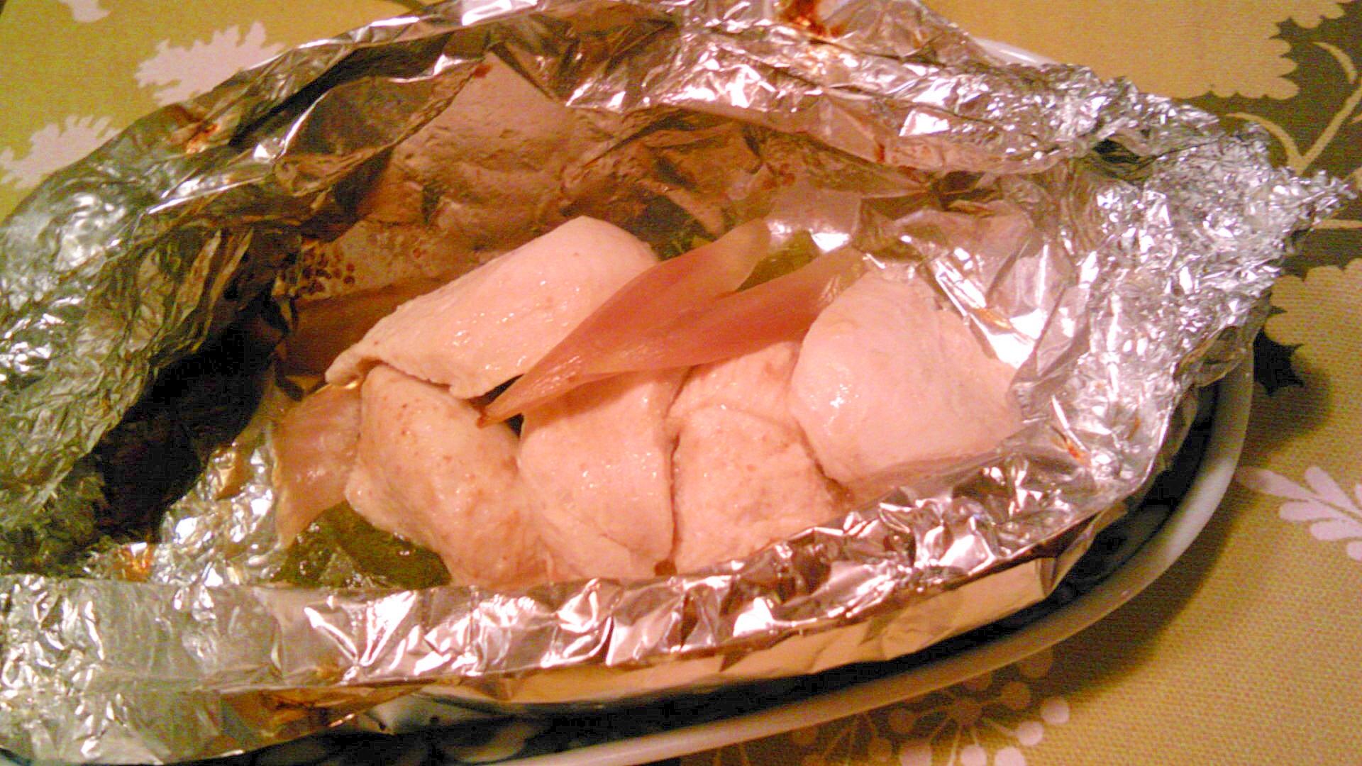 鶏胸肉と茗荷のホイル焼き