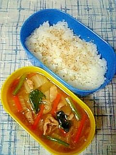 ☆豚肉野菜あんかけ炒め弁当☆