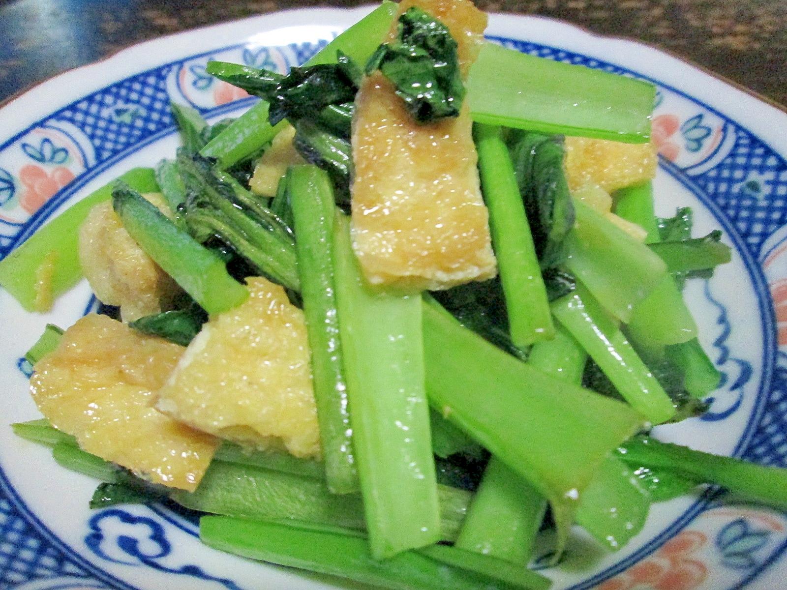 めんつゆで簡単☆小松菜と油揚げの炒め物