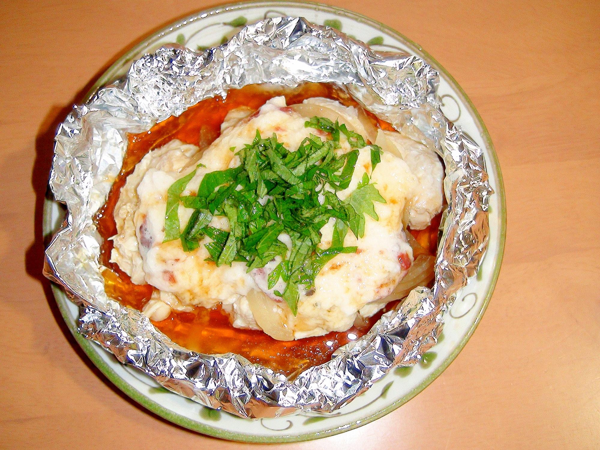 長芋&梅&大葉でさっぱり♪鶏むね肉の、ホイル焼き♪