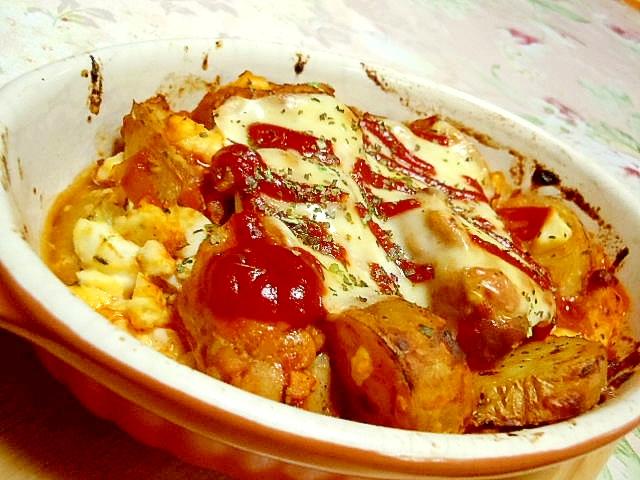 リメイクポテサラと鶏もも肉のミートソース焼き