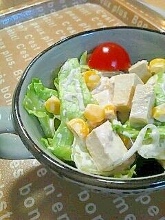 昨日の残りおかずでリメイク!凍み豆腐のツナサラダ☆