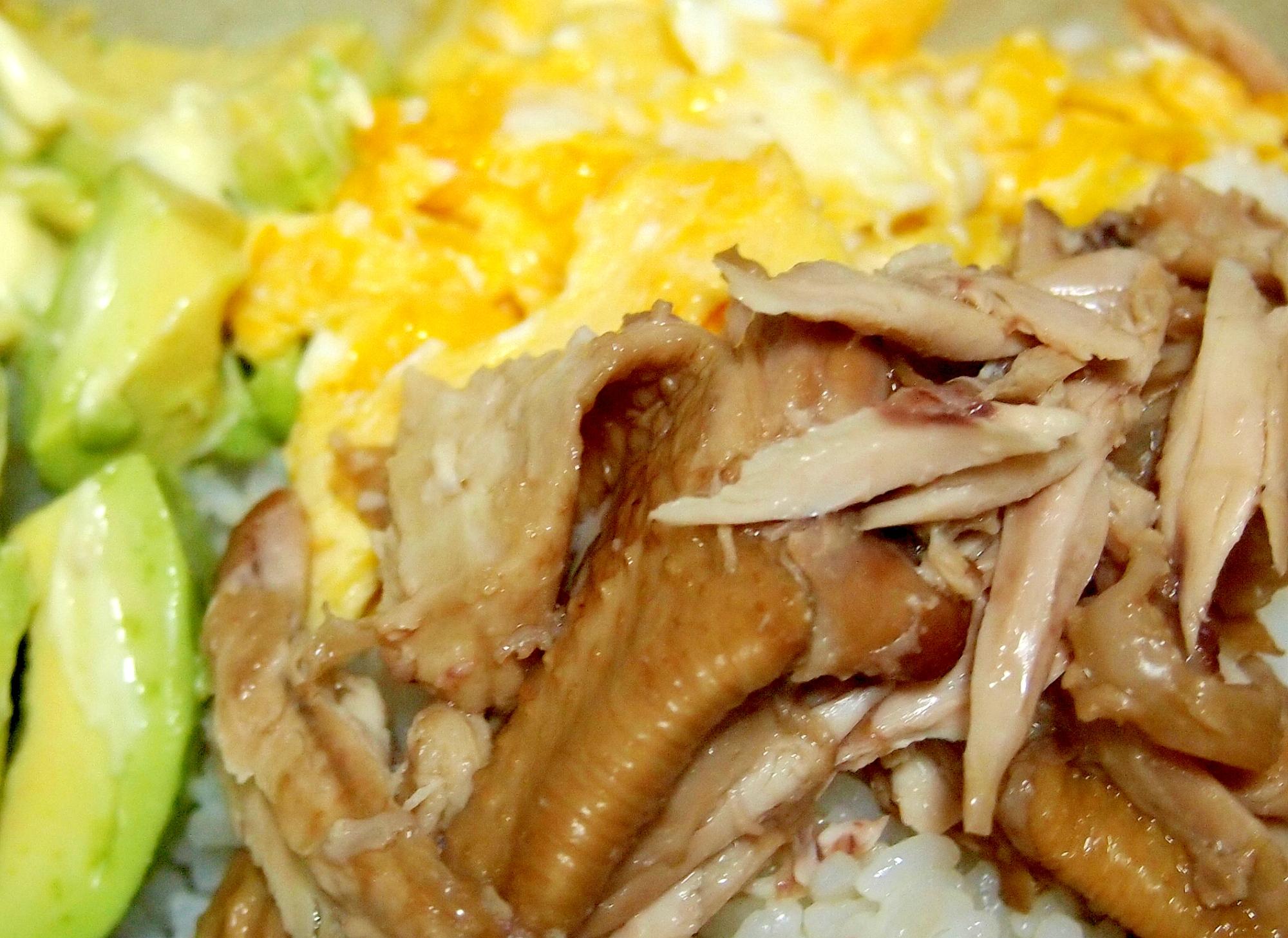 鶏しぎ焼き風アボカド卵丼