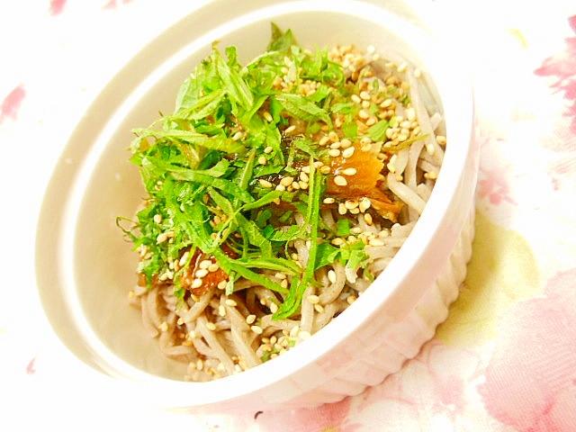 サンマ蒲焼きと大葉・山椒の蕎麦小鉢