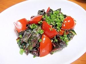 紅ひゆ菜とトマトの炒め物